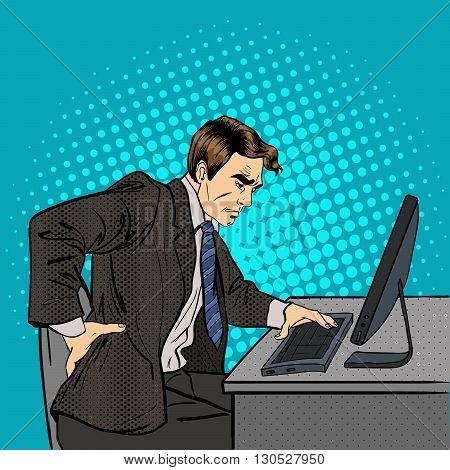 Businessman Suffering from Backache at Work. Pop Art Vector illustration