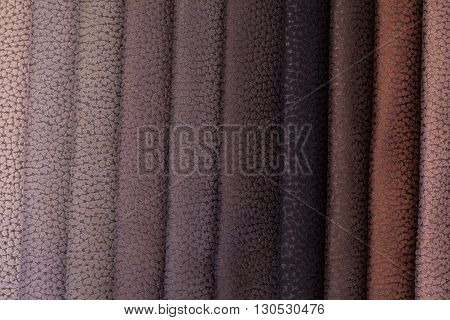 Close up of colored leather for sofa