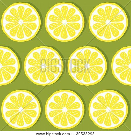 seamless pattern of lemons-vector illustration. Bright print texture lemon yellow. Natural bright lemon. Lemon wedges are symmetrical. Lemon fruit. EPS 10