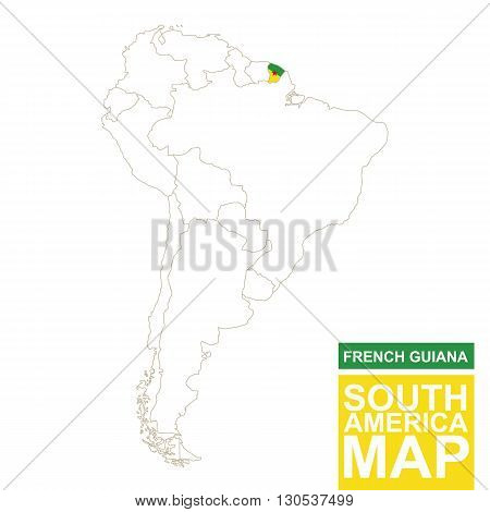 South America Contoured Map With Highlighted French Guiana.