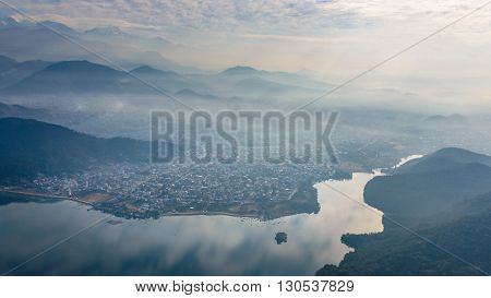 Pokhara and Fewa Lake aerial view in Nepal
