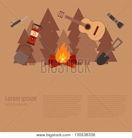 Summer camp fire. Vector illustration of camping  fire concept. Poster with Summer camp fire made in flat style. Summer camp icons set: backpack, axe, flashlight. Summer camping fire background.