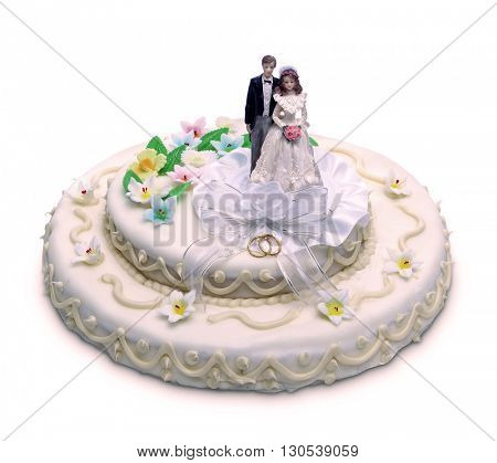 classic wedding cake with sugar paste ornament