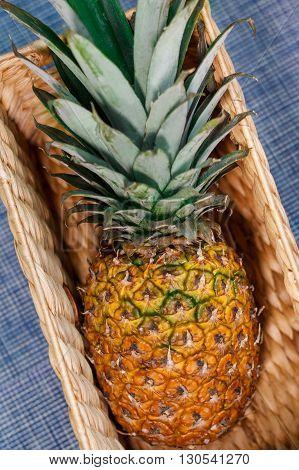 Fresh whole pineapple closeup in a box