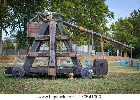 Old medieval catapult (reconstruction) in a park