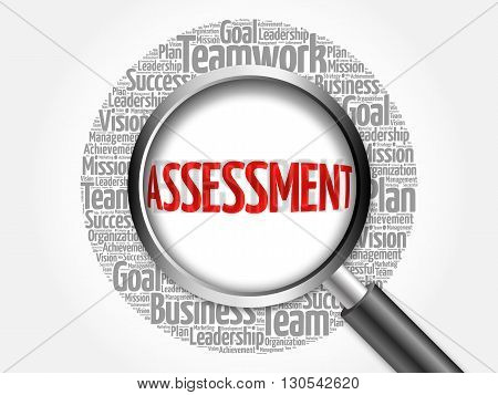 Assessment Word Cloud With Magnifying Glass