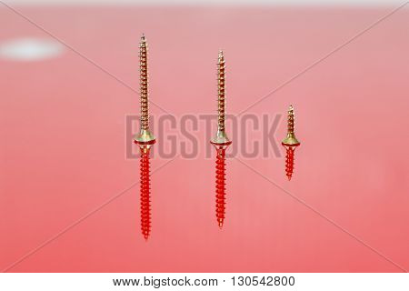 Some drywall Phillips screws of different sizes on a red reflecting surface