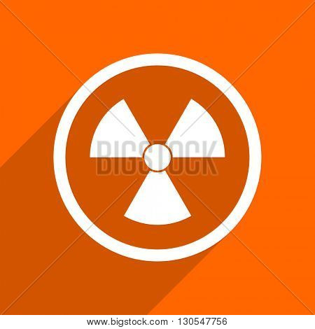 radiation icon. Orange flat button. Web and mobile app design illustration