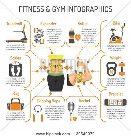 Fitness, Gym, Healthy Lifestyle Concept for Mobile Applications, Web Site, Advertising with Biceps, Waist, Exercise Bike and Scales Icons.