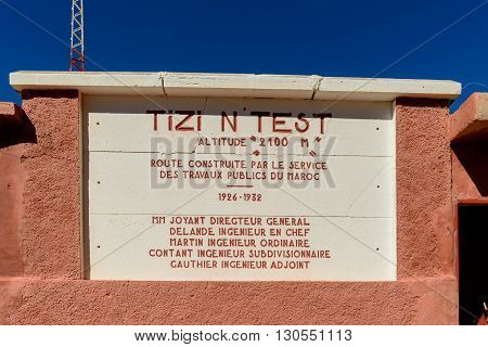 TIZI-N-TEST MOROCCO - NOVEMBER 03 2015: Shop restuarant and camp site at the summit of the Tizi-N-Test pass in Morocco.