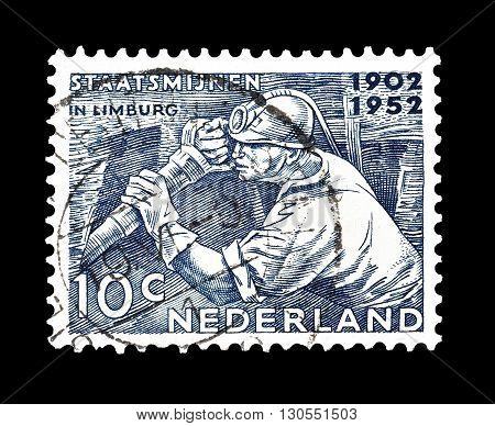 NETHERLANDS - CIRCA 1952 : Cancelled postage stamp printed by Netherlands, that shows Miner.