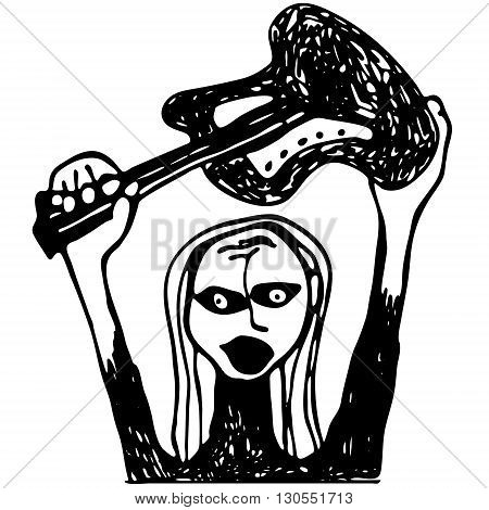 Rock-n-roll singer with guitar. Smash the guitar. Hand drawn vector.