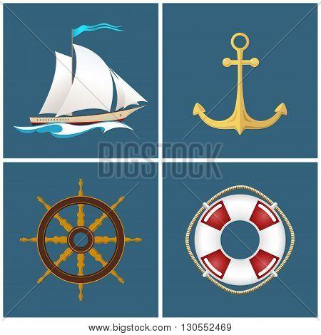 Set of Marine Icons, Sailing Vessel and Anchor, Ship Wheel and Lifebuoy ,Nautical Symbol, Sailboat and Ship Equipment , Vector Illustration