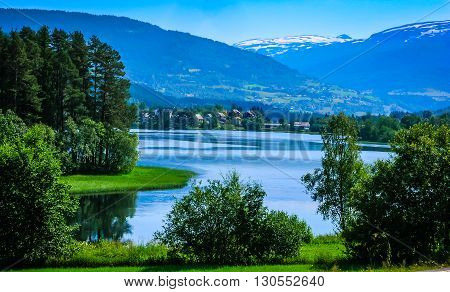 Beautiful Norwegian landscape with mountains and lake