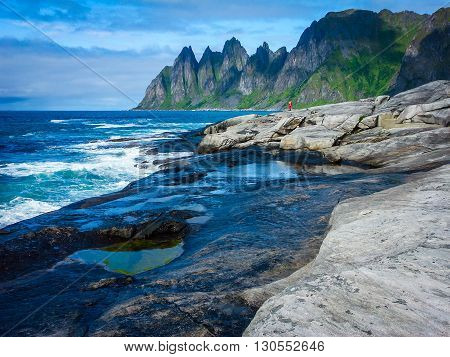 The beautiful landscape of Northern Norway the coast