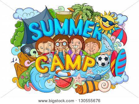 vector illustration of doodle of kids Summer Camp poster