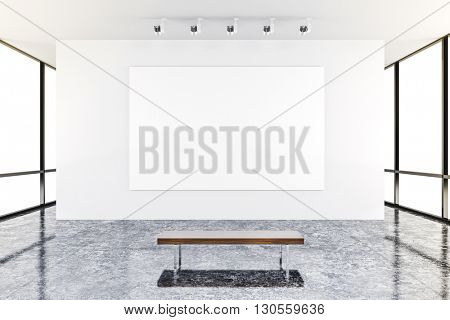 3d modern interior gallery with white walls and canvas