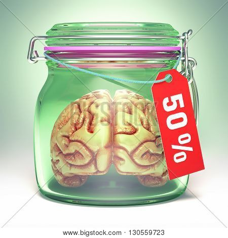 Brain inside an airtight glass jar with a 50% label. Clipping path included.