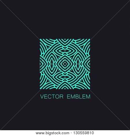 vector floral turquoise emblem. art-deco turquoise emblem. turquoise monogram sign. art-deco line art element for design