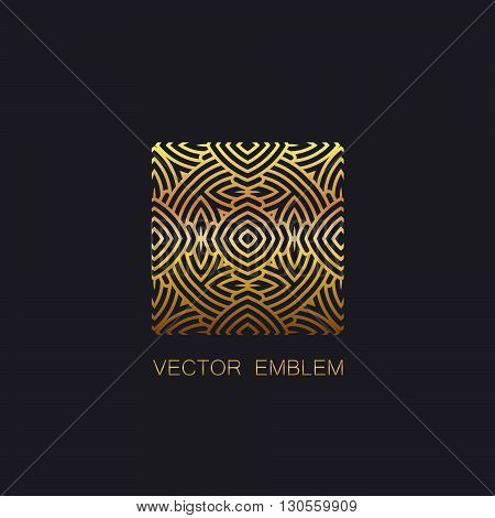 vector floral golden emblem. art-deco golden emblem. golden monogram sign. art-deco line art element for design