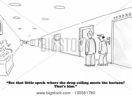 Business cartoon about a very distant boss.