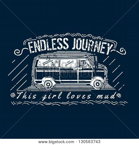 Truck Adventure T-shirt Print Design. Easy to manipulate, re-size or colorize