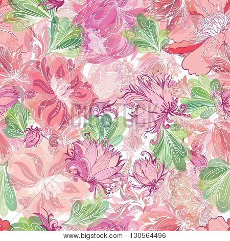 Bright Summer floral seamless texture with sketch illustrations and watercolor effect in soft red and pink colors
