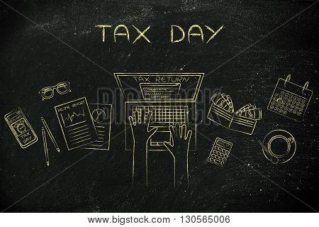 User Filing His Tax Retun Online, Caption Tax Day