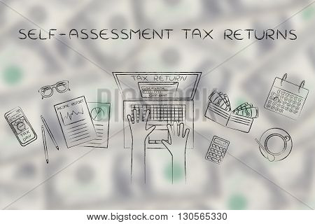 User Filing His Income Tax Data Online, Self-assessment Tax Returns