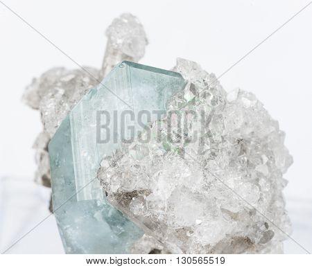 Mineralogical specimen comprising from crystals of blue datolite and transparent apophyllite; Dalnegorsk mine Russia
