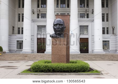 VOLGOGRAD RUSSIA - May 3 2016: Serafimovich Alexander Serafimovich's monument before Higher education institution of Pedagogical university Volgograd Russia