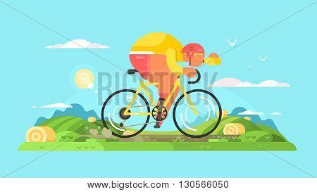 Cyclist sportsman on bike. Sport bicycle, man biking travel, vector illustration