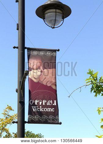 CHEROKEE, NORTH CAROLINA - May 13: On May 13, 2015, a banner in Cherokee, North Carolina, an entrance to the Great Smoky Mountains National Park, has