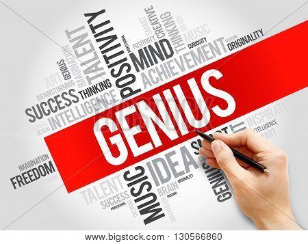 Genius word cloud business concept, presentation background