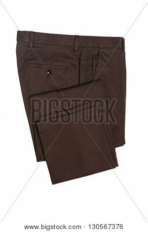 brown men's casual pants isolated on white background