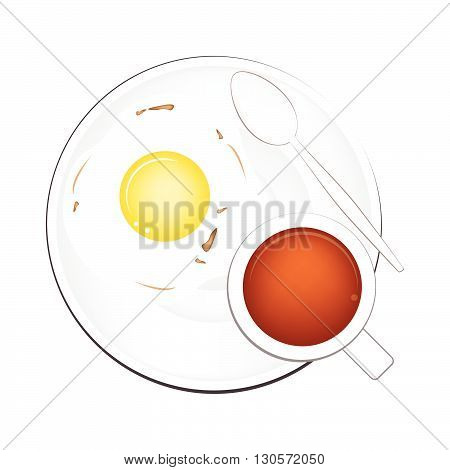 Coffee Time A Cup of Hot Coffee Served with Breakfast Fried Egg Isolated on White Background. Top View.