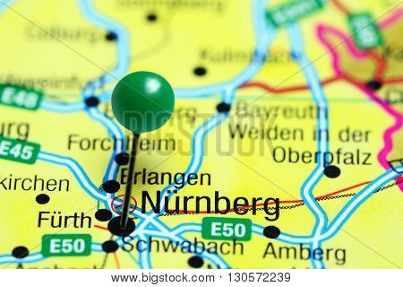 Nurnberg pinned on a map of Germany