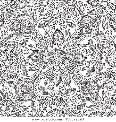 Coloring pages for adults. Seanless pattern.Henna Mehndi Doodles Abstract Floral Paisley Design Elements, Mandala, Vector Illustration. Coloring book. Coloring pages for adults.