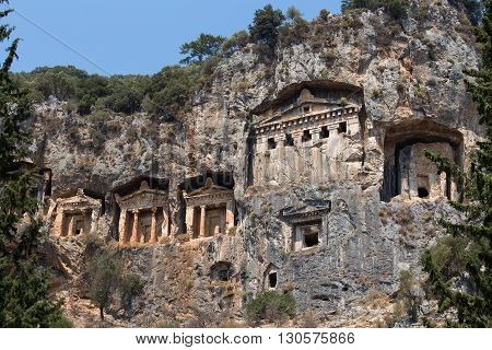 Famous Lycian Tombs of ancient Caunos city Dalyan Turkey