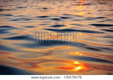 Picture of the surface water in the sunset time. Andaman sea.
