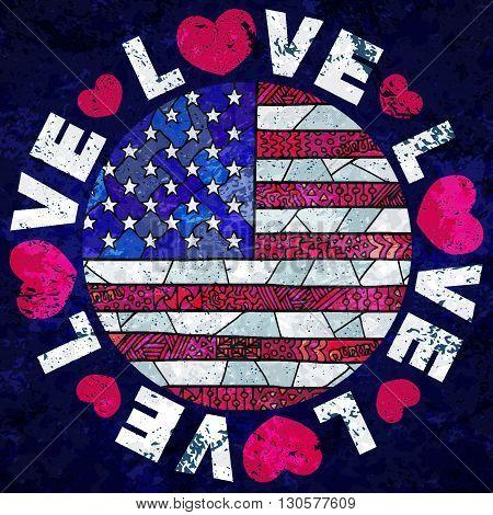 United States Of America Flag Zentangle Love Usa Grunge Sign