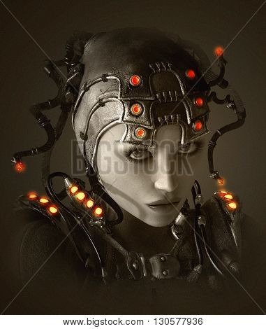 3D computer graphics of a young woman with clothing and headdress in science fiction style