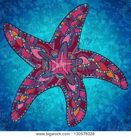 Zentangle Starfish Summer Doodle Background Ocean Water