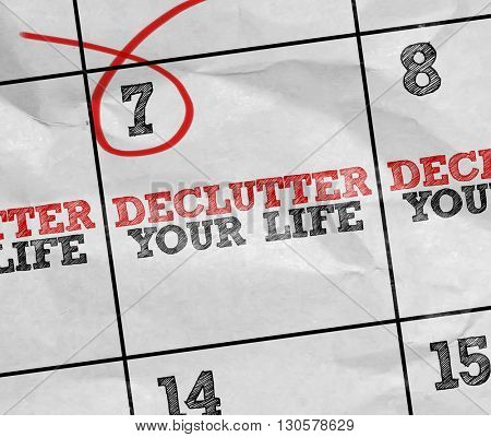 Concept image of a Calendar with the text: Declutter Your Life