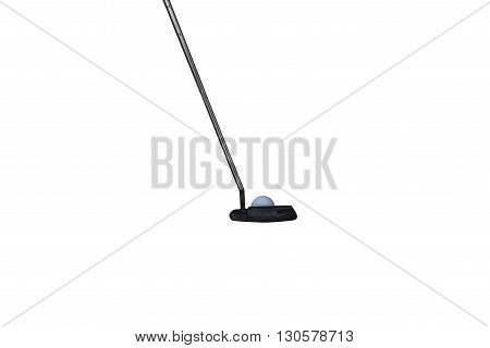an isolated golf putter in a white background