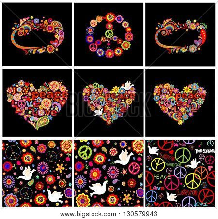 Set of hippie seamless wallpapers, frames, heart shapes and peace symbol