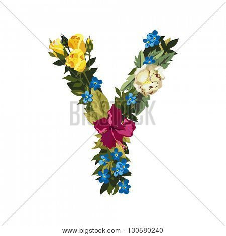 Y letter. Flower capital alphabet. Colorful font. Uppercase. Vector illustration. Grotesque style. Floral alphabet.