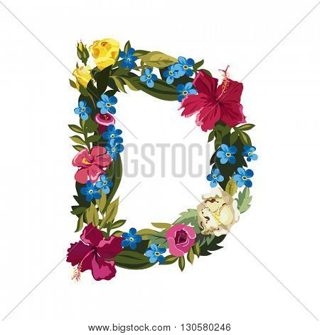 D letter. Flower capital alphabet. Colorful font. Uppercase. Vector illustration. Grotesque style. Floral alphabet.