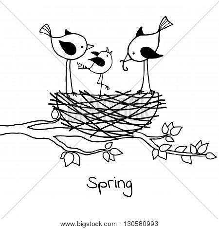 Birds family in the nest the parents feed their nestling. Vector black and white illustration.