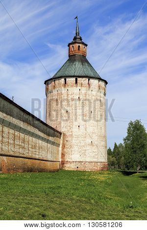 Kirillov, Russia - May 28: These are Moscow Tower and walls of Cyril-Belozersky Monastery which was in the 15-17 centuries one of the largest and richest monasteries of the Russian North May 28, 2013 in Kirillov, Russia.